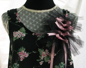 RePreposed One of a Kind  Floral Pink and Black Shear A line Sundress Reconstructed