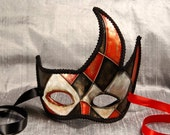Rosso Burlone (Red Clown) Mask, harlequin style paper mache masquerade mask