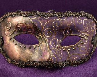 Old Orleans Paired Masks, Male and Female pair of masquerade masks in purple and gold