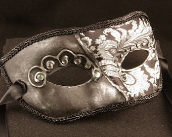 Principessa Scuro Mask, Silver and Black Brodcade Covered Masquerade Mask with 3D Swirl and Rhinestones