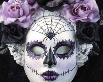 Dark Beauty Mask, Day of the Dead full faced mask with attached headdress and burnt silk roses