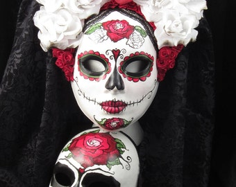 Till Death Do Us Part Day of the Dead Wedding Set, 4 Day of the Dead themed masks and 1 top hat