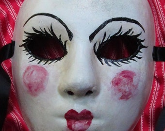 French Babydoll Mask, full faced faux porcelain baby faced paper mache mask