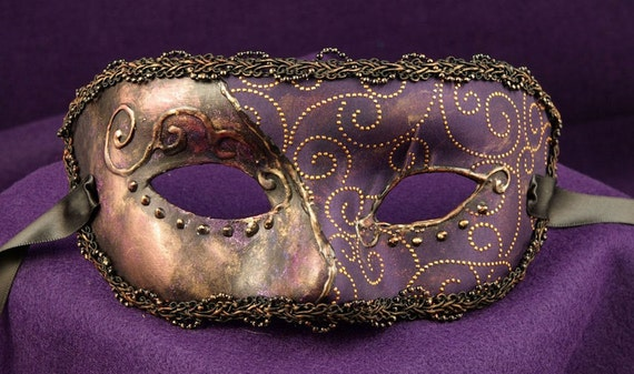Old Orleans Dame Mask, Purple and Gold Brocade Covered Eyemask with Gold 3D swirls and trim