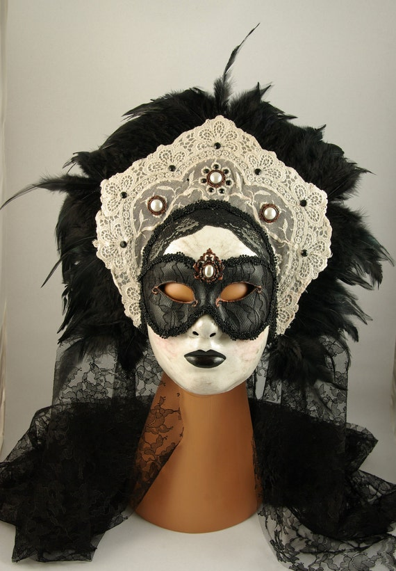 Victorian Raven Shadowboxed Mask- Wearable Art