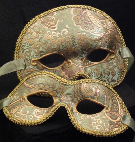 Irish Paired Masks, male and female brocade covered masquerade masks