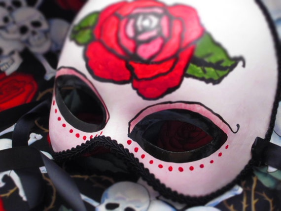 Sale!  Rojo Rose Mask, Day of the Dead