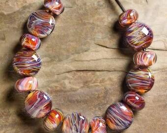 BURNING PASSION  BORO Lampwork beads 15