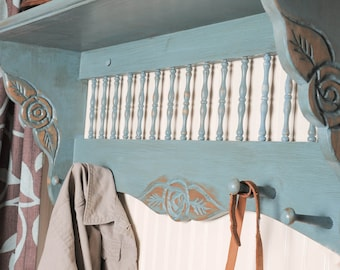 Antique spindle shelf