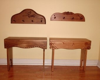 pine bench,, wood bench