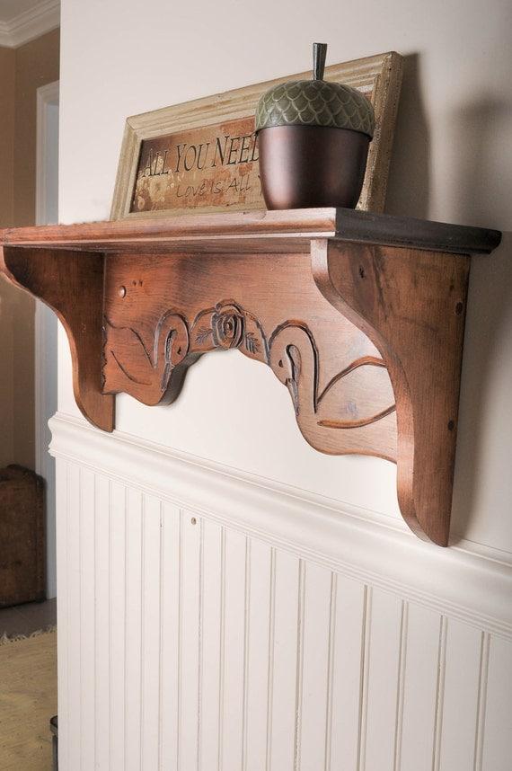 swan shelf, pine shelf, wood shelf