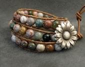 Beaded Leather Wrap Bracelet Chan Luu Style Multi-colored Stone Colorful Jasper Flower boho chic