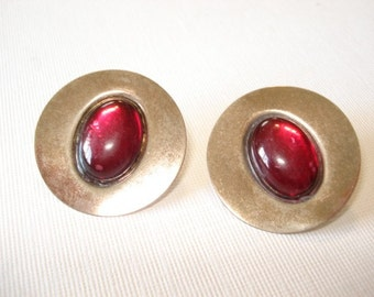 Red Glass Earrings,Silver and Red Glass Earrings Round Silver Disc Earring Jewelry, Pierced Earrings Vintage Red Silver Earrings