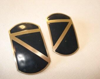 Navy Blue  Earrings Blue Metal Earrings Vintage Earrings Metal Jewelry, Geometric Earrings