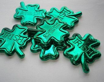 Shamrock Beads Large - Green Metallic Shamrocks