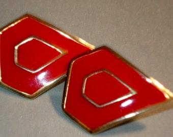Vintage Earrings Red Metal Earrings Clip On Earrings Gold Triangular Earrings Vintage Jewelry