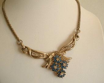 Blue Flower Necklace Vintage Flower Rhinestone Necklace Vintage Gold Pendant  and Gold Necklace Jewelry