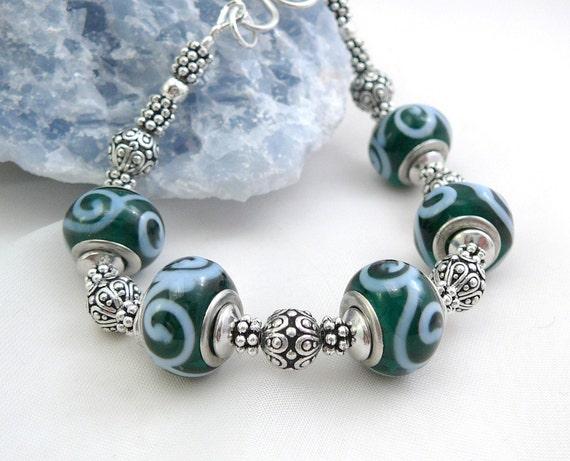Blue and Green Pandora Style Bracelet