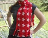 Red  with White Stars Fleece Scarf