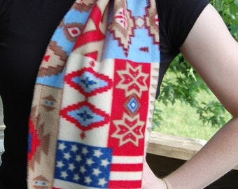 Native American Indian Flag USA Stars Fleece Scarf   Free Shipping in USA