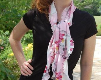 Cotton Jersey Scarf Ruffle Rose Print