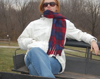 Navy and Red Plaid Fleece Scarf