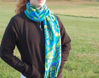 Mod Swirls Aqua Blue Green Print Fleece Scarf Free Shipping in USA