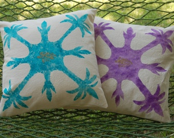 2 Hand Painted Cotton Pillow Cover Hawaiian Design