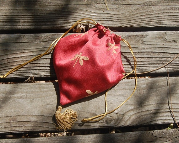 Renaissance Drawstring Pouch Purse Medieval Dragonfly