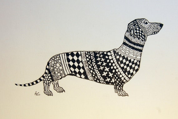 Dachshund Zentangle Original Pen and Ink Drawing with Diamonds Free Shipping in USA