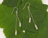 sterling silver byzantine chainmaille double drop earrings