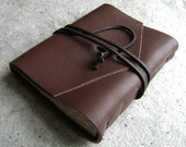 Handmade Rustic Leather Journal/sketch/Diary, Chocolate Brown, 4 1/4 inches by 5 1/2 inches