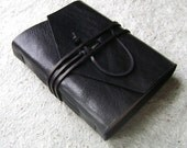 Leather Journal, Midnight Black, handmade rstic journal