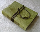 Rustic Leather Journal, Lime Green with dark brown tie closure, handmade