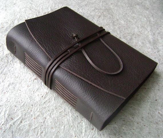 Handmade Leather Journal, Dark Chocolate Brown, rustic leather journal by Dancing Grey Studio on Etsy