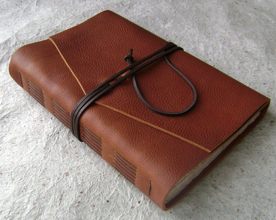 Large Leather Journal, Rust, handmade journal by Dancing Grey Studio on Etsy