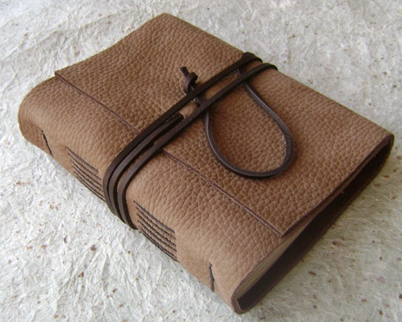 Leather Journal, Latte, handmade rustic journal by Dancing Grey Studio on Etsy