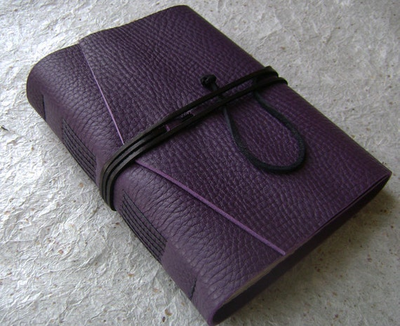 Leather Journal, Violet/Purple, handmade journal by Dancing Grey Studio on Etsy