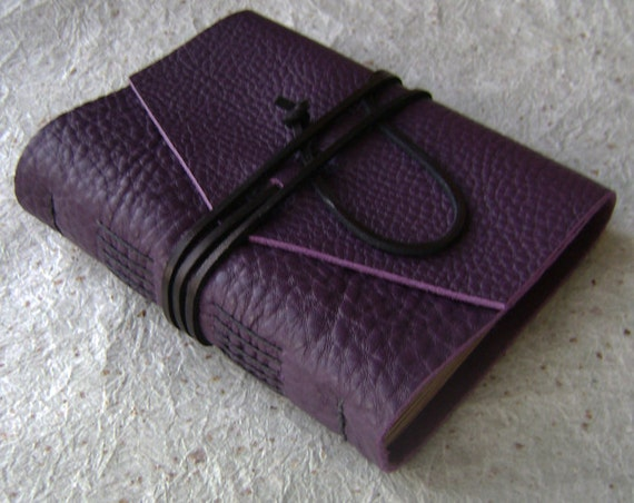 Leather Journal, Violet/purple, handmade rustic journal by Dancing Grey Studio on Etsy