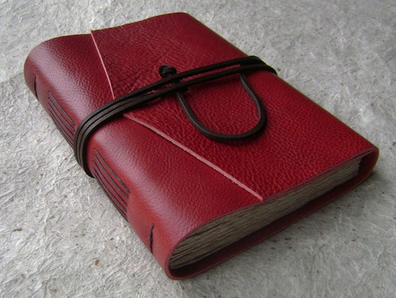 Leather Journal, Red, handmade rustic journal by Dancing Grey Studio on Etsy