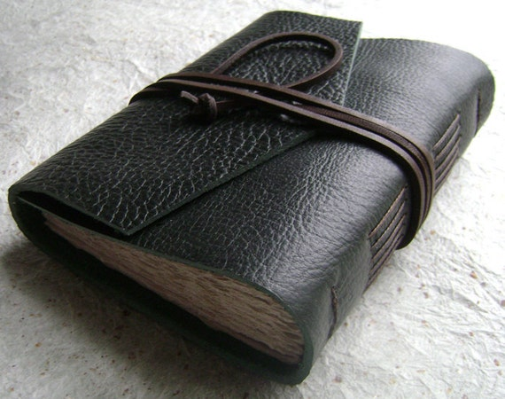 Rustic Leather Journal, Forest Green, handmade journal by Dancing Grey Studio on Etsy