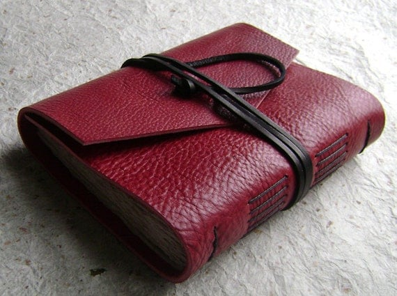 Handmade Leather Journal, Red and Black, rustic journal by Dancing Grey Studio on Etsy
