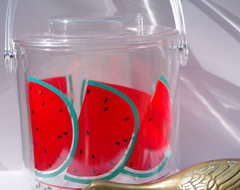 summer WATERMELON clear lucite fun and fruity whimsical ice bucket 1980s