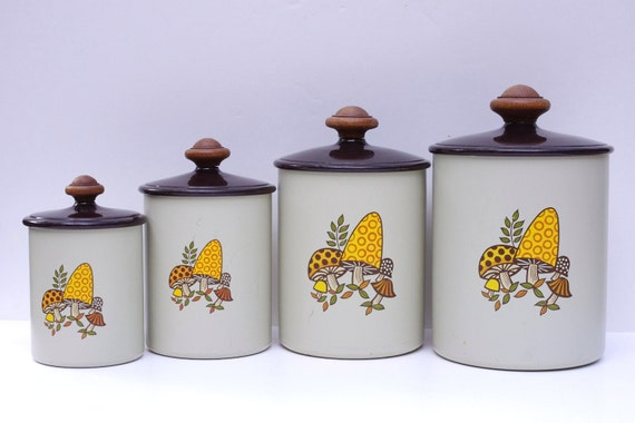 Vintage 1970s Mushroom and Fern Tin Canisters with Knob Handles (4)