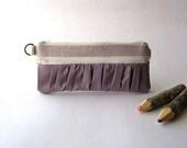 The True Romantic Pouch - Fabric pencil case or pouch  in lavender/ dark lavender