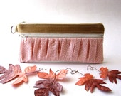 SALE - Prices already reduced - The True Romantic Pouch - a fabric pencil case or pouch in light brown/ soft pink