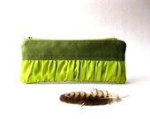 SALE 20% OFF - Prices already reduced - Pouch, Pencil case, purse - New Mini True Romantic Pouch in military green / apple green fabric