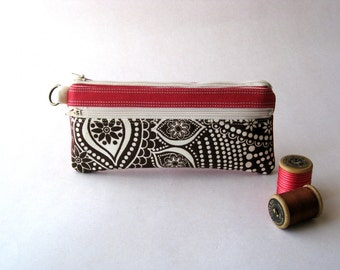 SALE - Retro Pencil Pouch, Pencil Case, Cosmetic Pouch, Wallet, Clutch - The Epu Pouch in dark pink with brown/cream fabric