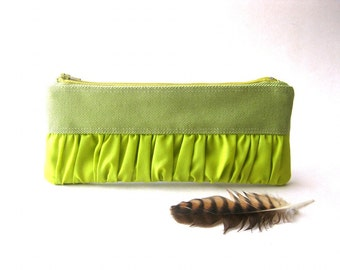 SALE - Pouch, clutch, purse - New Mini True Romantic Pouch in light  green / apple green fabric