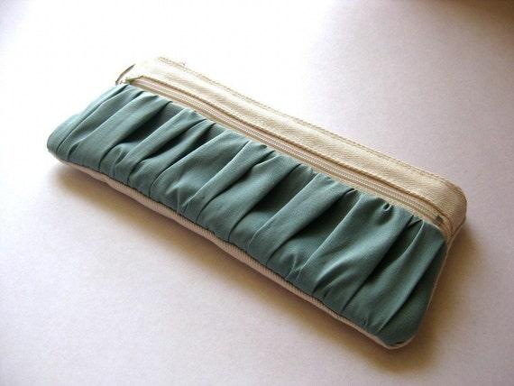 The True Romantic - Fabric zippered pencil case or Pouch in white/bright blue